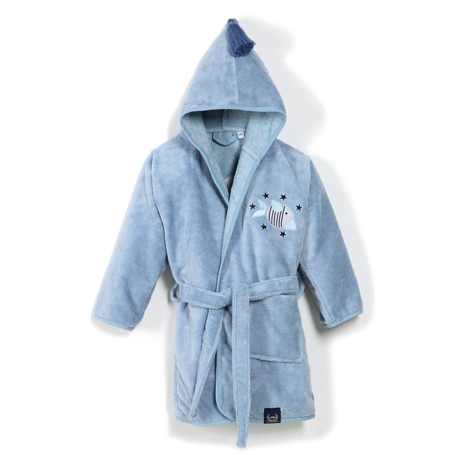 BATHROBE BAMBOO SOFT - DUSTY BLUE - BAD FISH