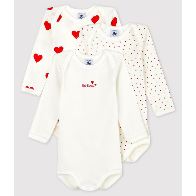 Baby Girls' Long-sleeved Heart Pattern Organic Cotton Bodysuit - 3-Pack