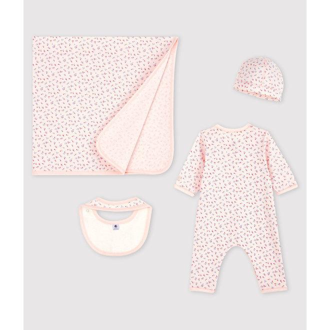 Babies' Pink Flower Organic Cotton Newborn Gift Set