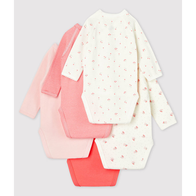Babies' Long-sleeved Wrapover Organic Cotton Bodysuits - 5-Pack-GIRL