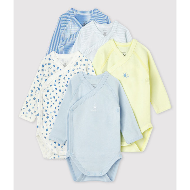 Babies' Long-sleeved Wrapover Organic Cotton Bodysuits - 5-Pack-BOY