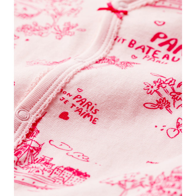 Baby Girls' Toile de Jouy Paris Tube Knit Sleepsuit