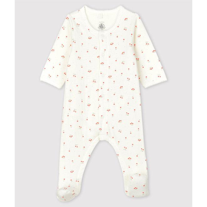 Babies' Cherry Pattern Organic Cotton Tube Knit Bodyjama