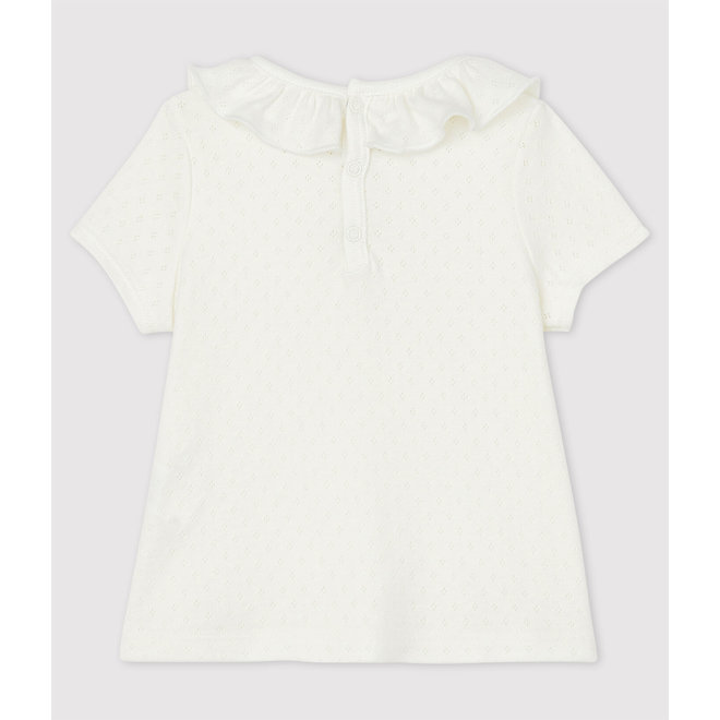 Baby Girls' Short-Sleeved Cotton Openwork Blouse
