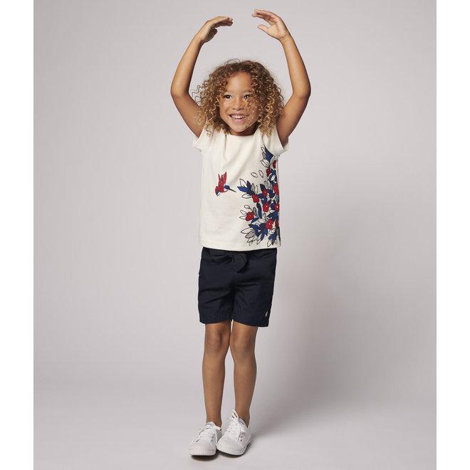Girls' Short-Sleeved Cotton T-Shirt Flower & Bird