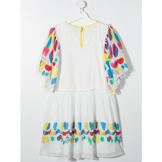 Kid Girl Dress With Multicolor Sleeves And Trim