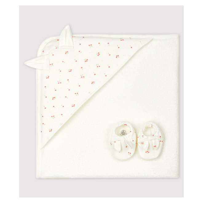 Babies' Square Bath Towel and Bootees Set in Terry and Organic Cotton Marshmallow white / Multico white