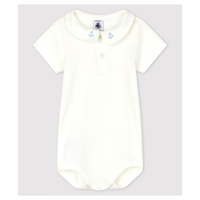 Baby Boys' Cotton Bodysuit with Embroidered Collar Marshmallow white
