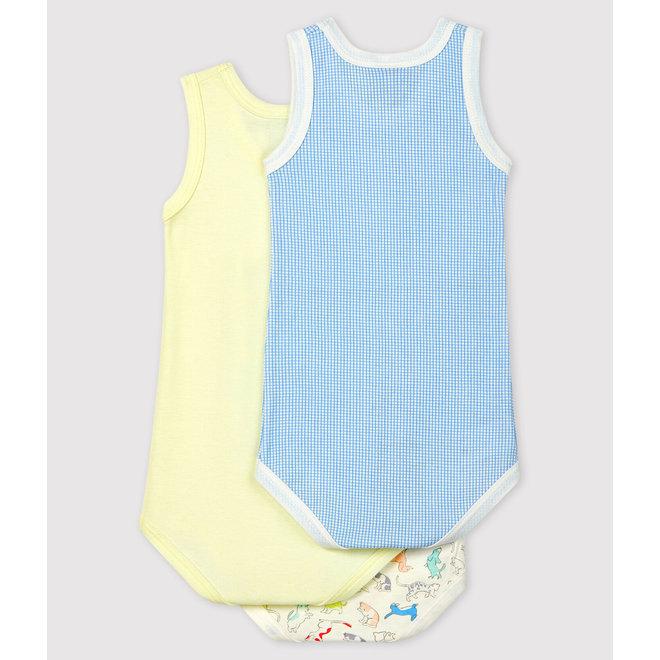 Babies' Puppy Pattern Sleeveless Organic Cotton Bodysuits - 3-Pack