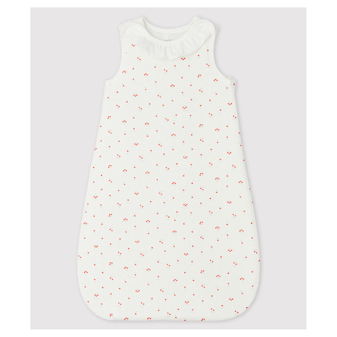 Babies' Organic Cotton Cherry Pattern Sleeping Bag with Little Collar Marshmallow white / Multico white