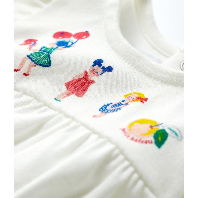 Baby Girls' Short-Sleeved Cotton Blouse Marshmallow white