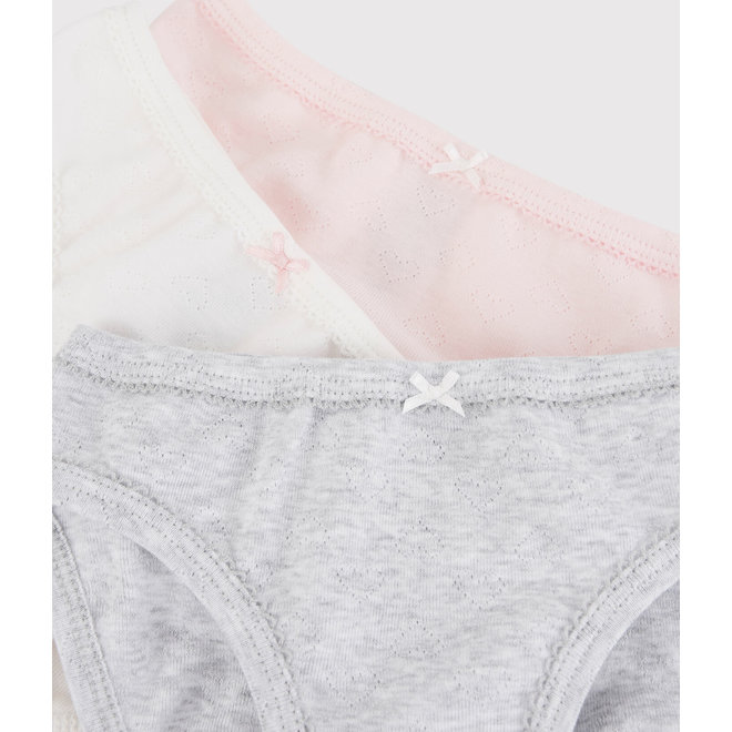 Girls' Pastel Openwork Organic Cotton Knickers - 3-Pack