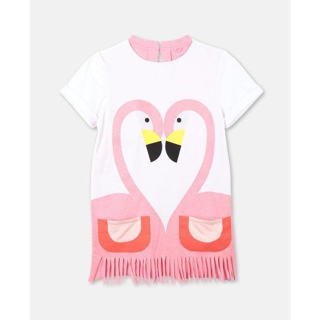 Kid Girl SS Flamingo Dress With Fringe