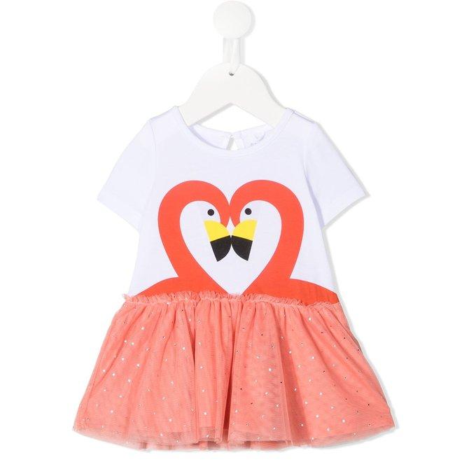 Baby Girl SS Flamingo Dress W Tulle Skirt
