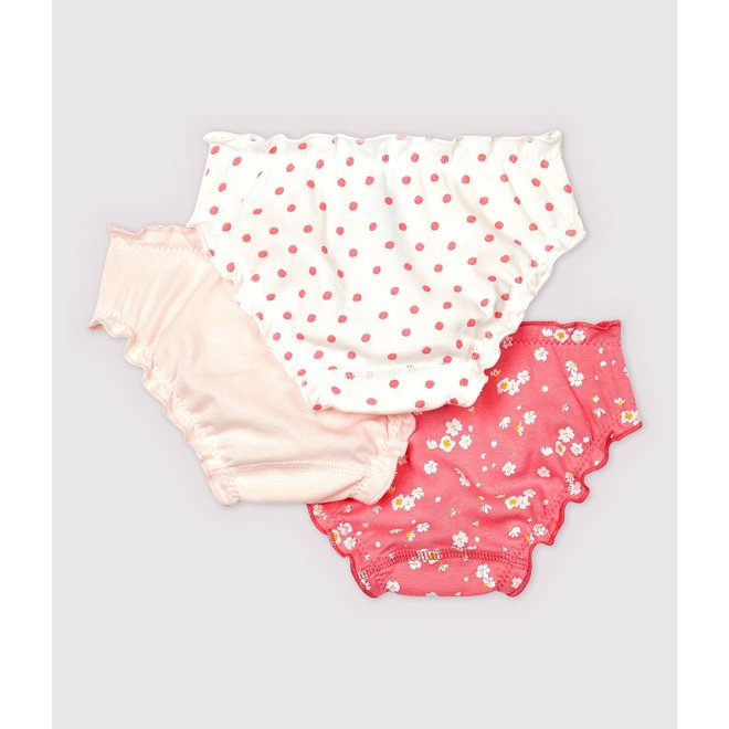 Girls' Cherry Blossom Ruffled Knickers - 3-Pack