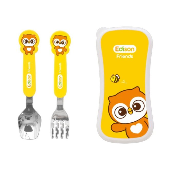 EDISON FRIENDS SPOON & FORK CASE SET FOR BABY OWL