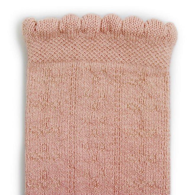 Juliette - Chaussettes hautes en maille ajouree pink