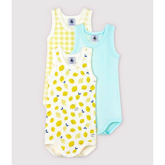 Babies' Lemon Sleeveless Bodysuit - 3-Pack