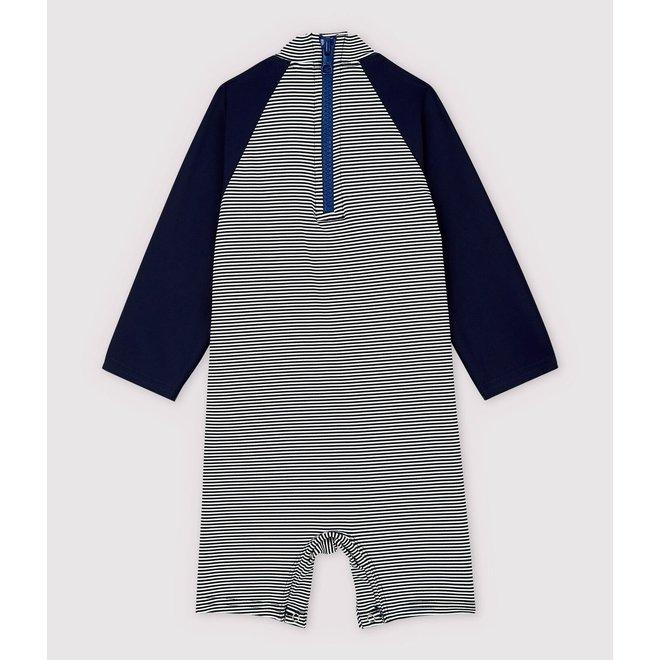 Babies' Unisex UV-Proof Eco-Friendly Swimsuit Smoking blue / Marshmallow white