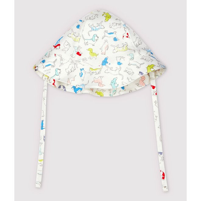 Babies' Organic Cotton Terry Sun Hat Marshmallow white / Multico white