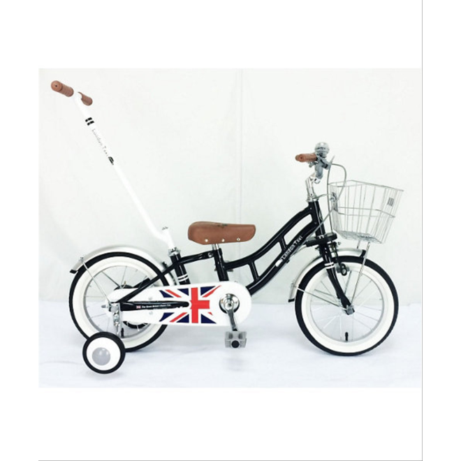 LONDON TAXI 14-INCH KID'S BIKE WITH HAND-HELD PUTTER BLACK