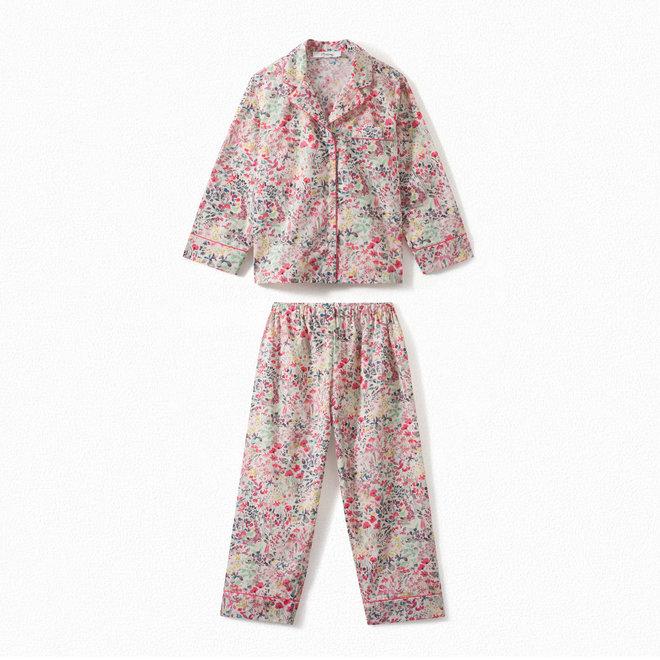 Girls' Liberty Fabric Pajamas With Pouch Raspberry FL Framboise