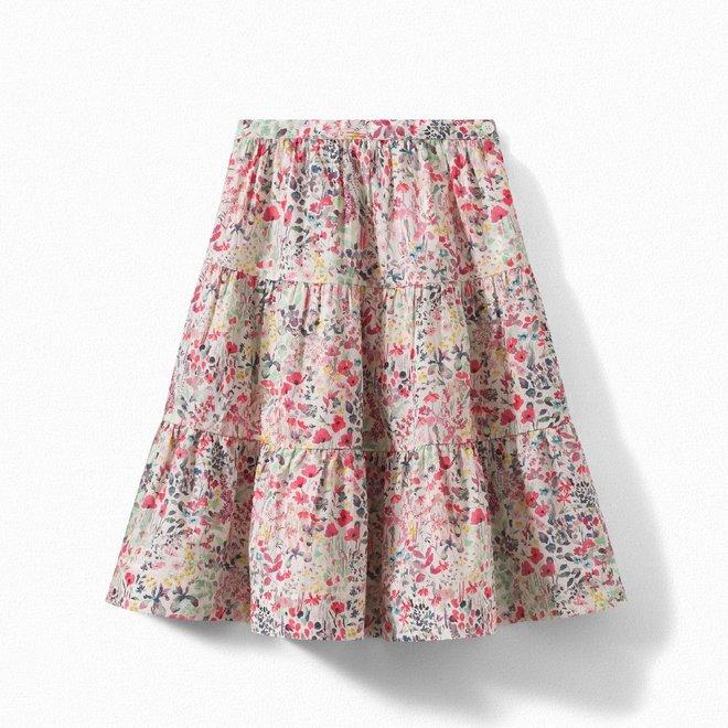 Girls' Liberty Fabric Flared Skirt Raspberry