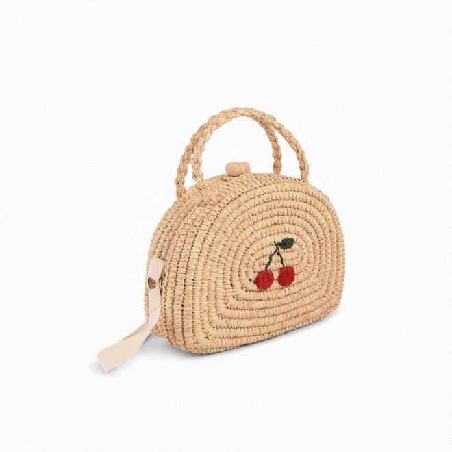 Girls' Raffia Cherry Suitcase Natural