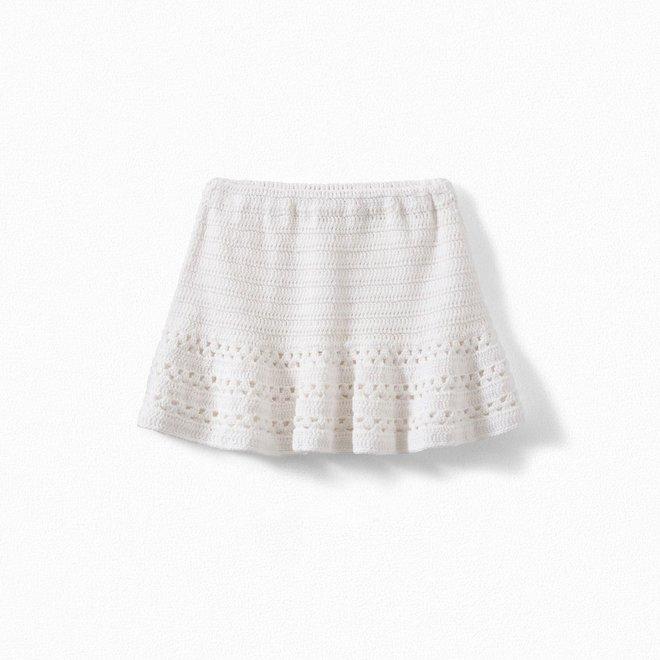 Girls' Crocheted Skirt Milk White