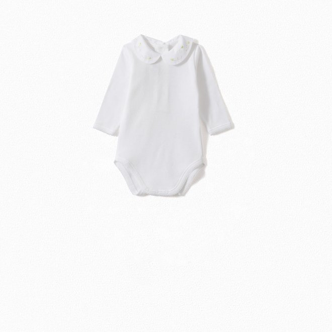 Baby Onesie With Hand-Embroidered Peter Pan Collar Yellow