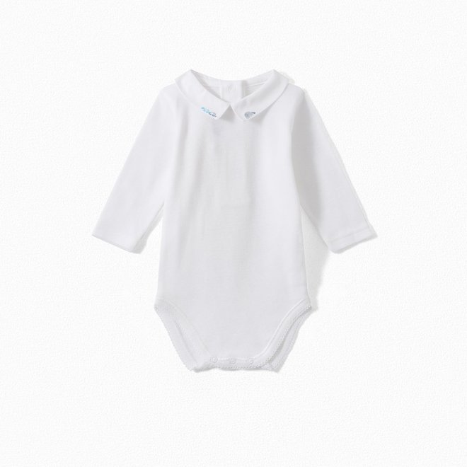 Baby Onesie With Embroidered Collar Northern Blue