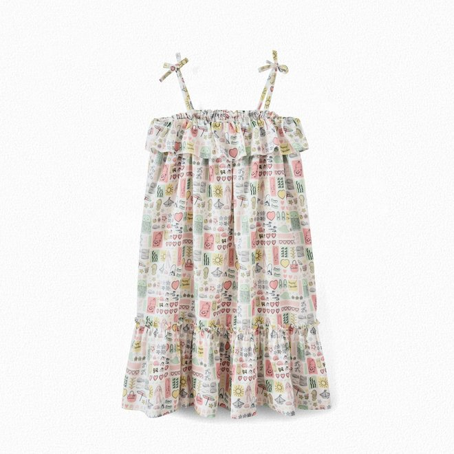 Girls' Printed Poplin Dress Printed Pink IMP Rose