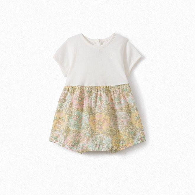 Baby Liberty Fabric And Jersey Pajamas Milk White Upb Blanc Lait