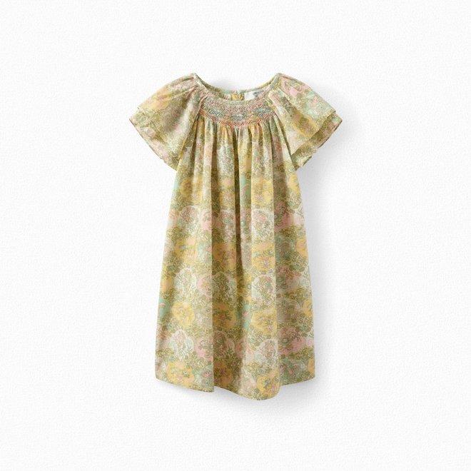 Girls' Exclusive Liberty Fabric Dress Light Yellow Fl Jaune Clair