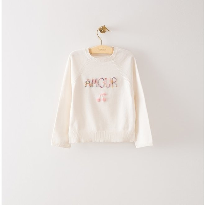 Girls' Embroidered Sweater Milk White