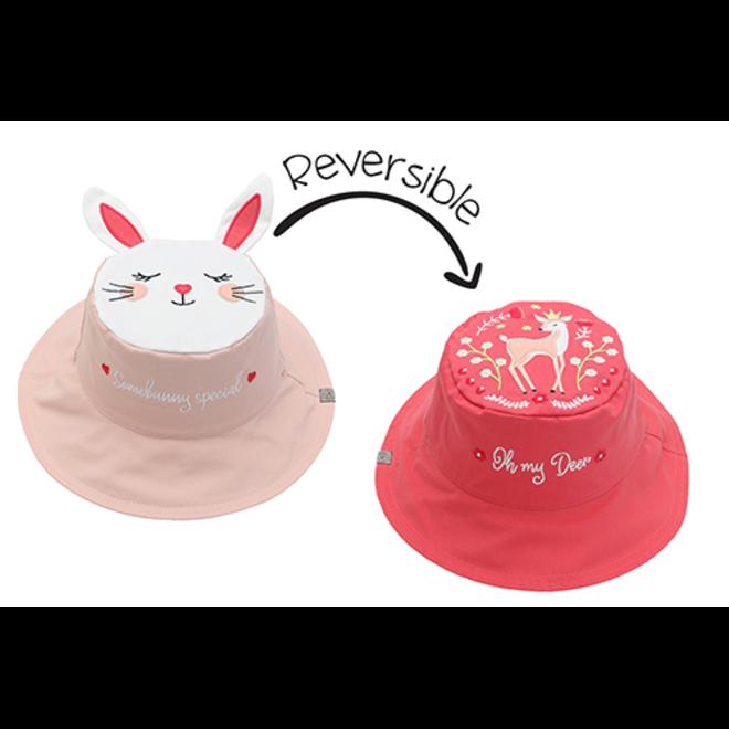 FlapJackKids - Reversible Kids' Sun Hat - Bunny/Deer