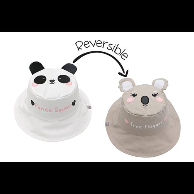FlapJackKids - Reversible Kids' Sun Hat - Panda/Koala