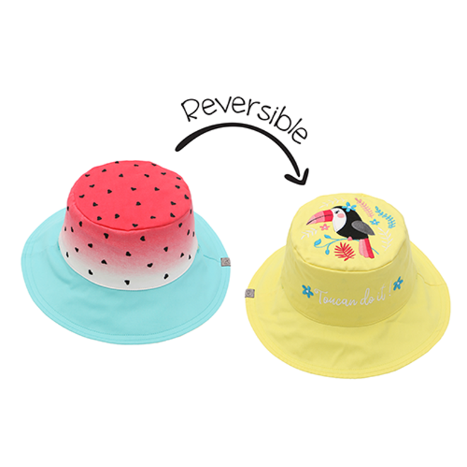 FlapJackKids - Reversible Kids' Sun Hat - Watermelon/Toucan