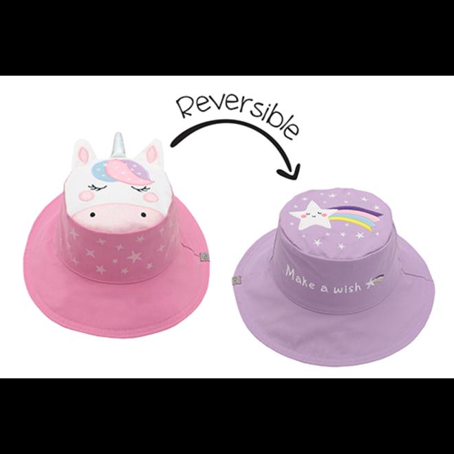 FlapJackKids - Reversible Kids' Sun Hat - Unicorn/Star