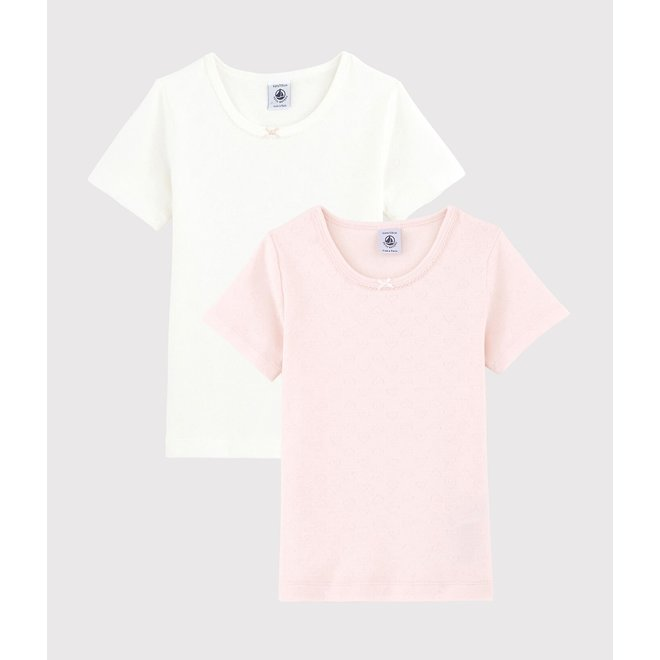 Girls' Pastel Openwork Short-sleeved Organic Cotton T-Shirts - 2-Pack