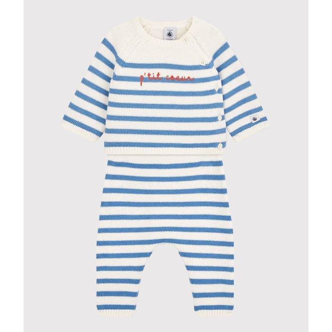 BABIES' WOOL/COTTON KNIT SAILOR STRIPED CLOTHING - 3-PIECE SET