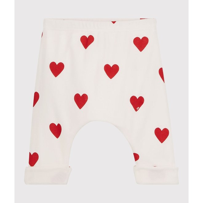 BABIES' RED HEART PATTERNED ORGANIC COTTON TROUSERS