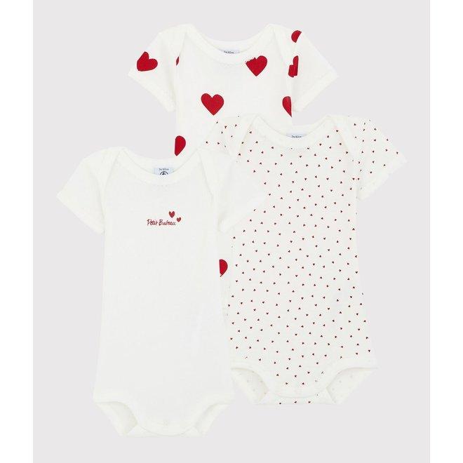 Baby Girls' Short-sleeved Heart Pattern Organic Cotton Bodysuit - 3-Pack
