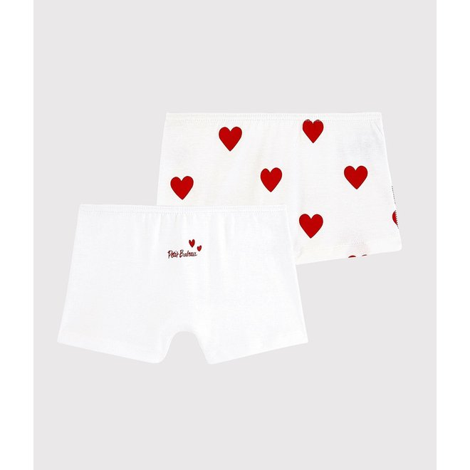 Girls' Red Heart Pattern Organic Cotton Underpants - 2-Pack