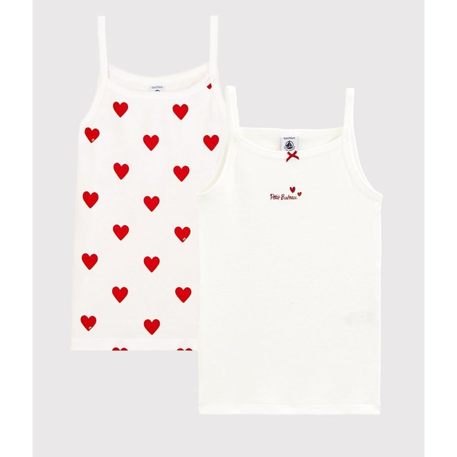 Girls' Red Heart Pattern Organic Cotton Strappy Tops - 2-Pack