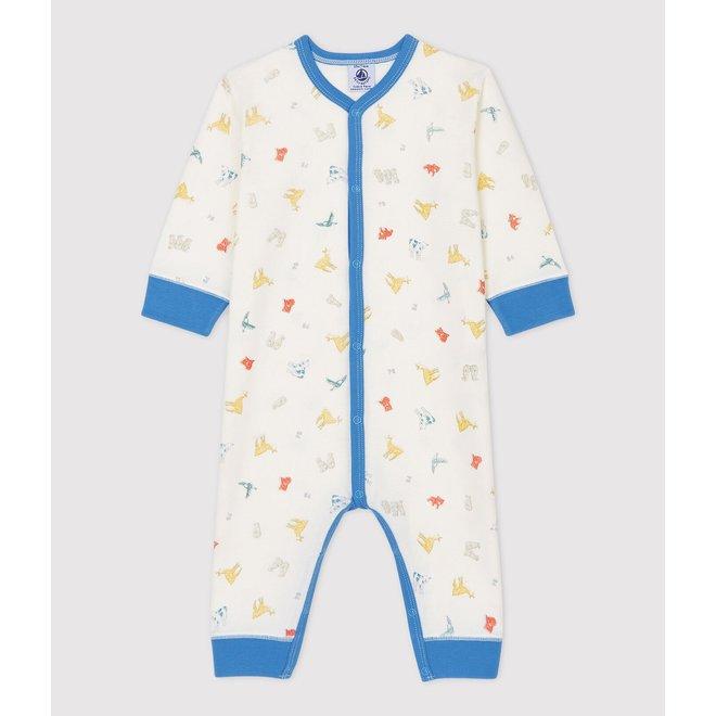 BABIES' FOOTLESS ANIMAL PATTERNED ORGANIC COTTON SLEEPSUIT