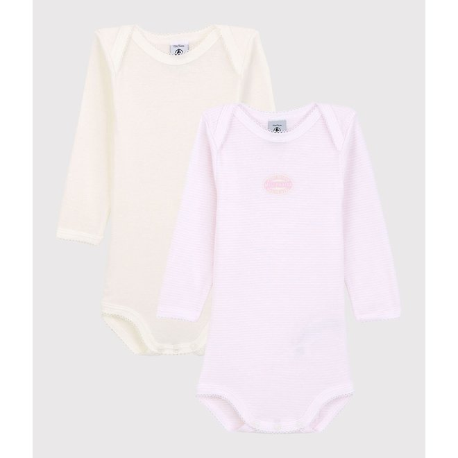 BABIES' PINSTRIPED LONG-SLEEVED ORGANIC COTTON BODYSUITS - 2-PACK