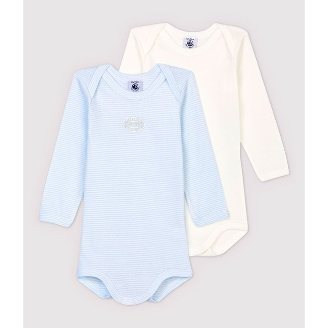 BABIES' PINSTRIPED ORGANIC COTTON LONG-SLEEVED BODYSUITS - 2-PACK