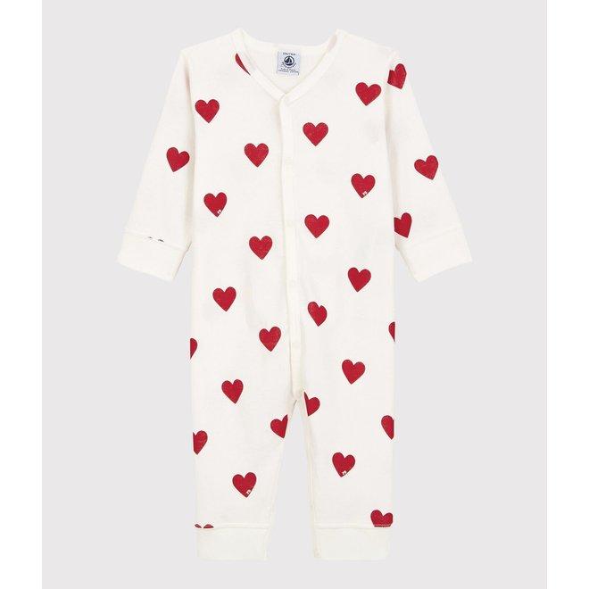 BABIES' RED HEART PATTERN FOOTLESS ORGANIC COTTON SLEEPSUIT
