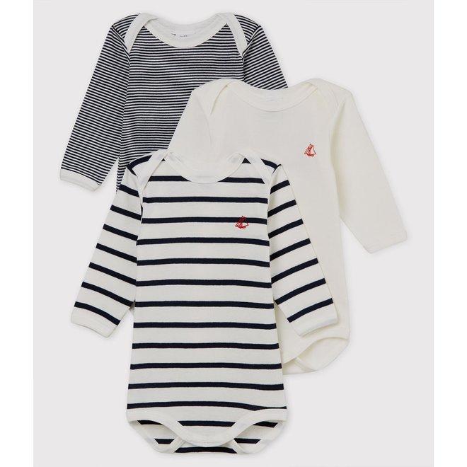 BABIES' STRIPY LONG-SLEEVED ORGANIC COTTON BODYSUITS - 3-PACK